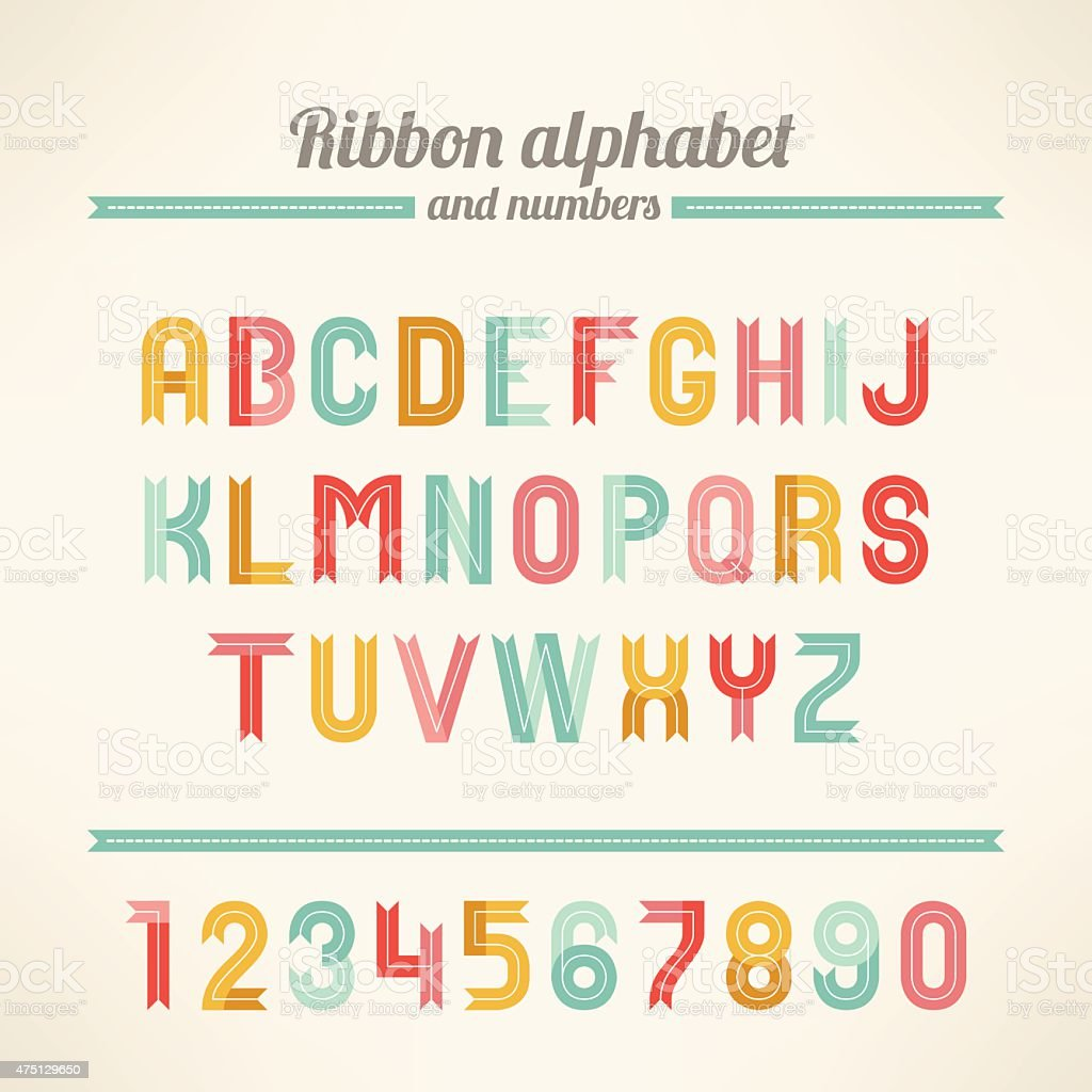 Ribbon Latin alphabet and numbers vector art illustration