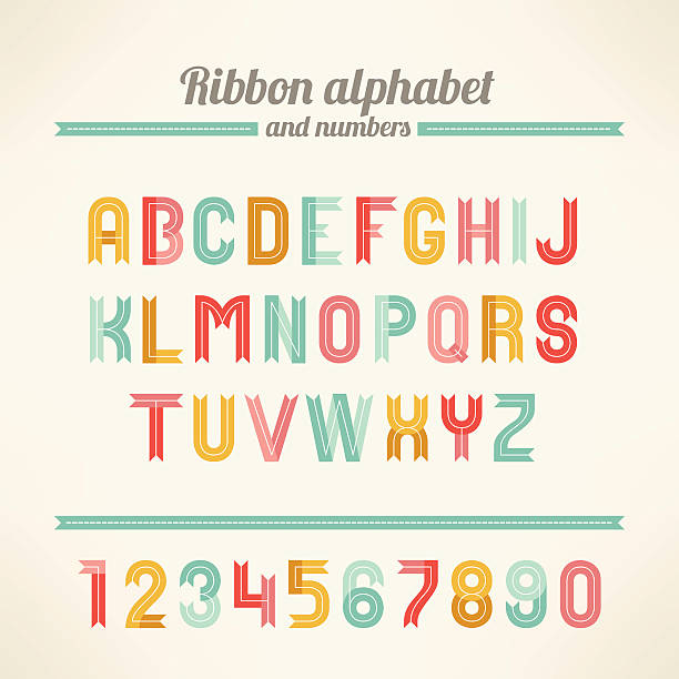 Ribbon Latin alphabet and numbers Letters A, B, C, D, E, F, G, H, I, J, K, L, M, N, O, P, Q, R, S, T, U, V, W, X, Y, Z. Perfect for holiday greetings, Christmas, Valentine, birthday and wedding cards.  christmas fun stock illustrations