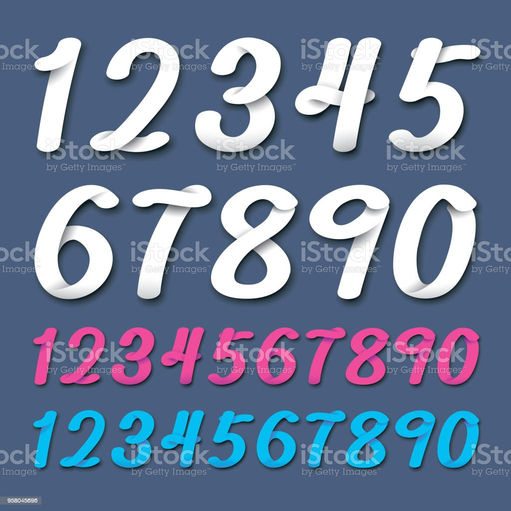 3 Ribbon Number Set In Different Colors Stock Vector Art & More ...