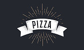 Ribbon Pizza. Old school ribbon banner with text Pizza. Ribbon flag in vintage style with linear drawing light rays, sunburst and rays of sun, text Pizza. Hand drawn design element. Vector Illustration