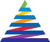 Vector illustration of a colorful ribbon pyramid.