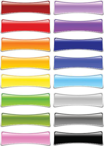 ribbon rectangle menu buttons - byteandpixel stock illustrations