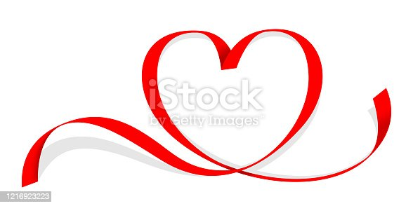 istock ribbon red heart shape isolated on white, ribbon line red heart-shaped, heart shape ribbon stripes red, copy space, border tape curl heart shaped for decoration greeting valentine card and mother day 1216923223