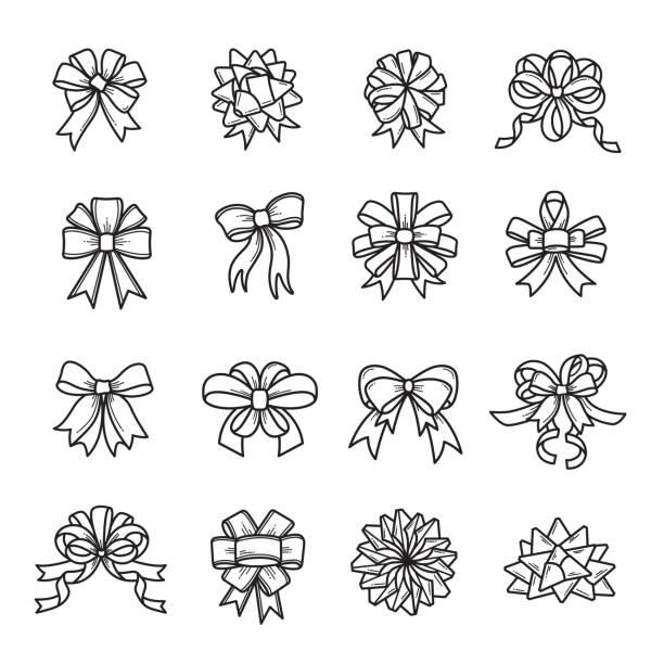 리본/나비 리본 - 머리 리본 stock illustrations