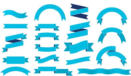 vintage ribbon set design elements