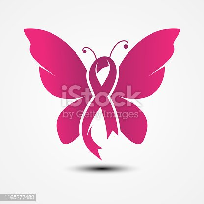 Ribbon shaped butterfly in flat style with color pink. Holidays around the world of Breast Cancer Awareness. Vector illustration EPS.8 EPS.10