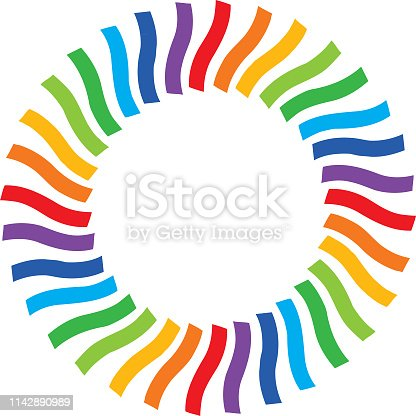Vector illustration of a circle of colorful ribbon strips forming a circle.