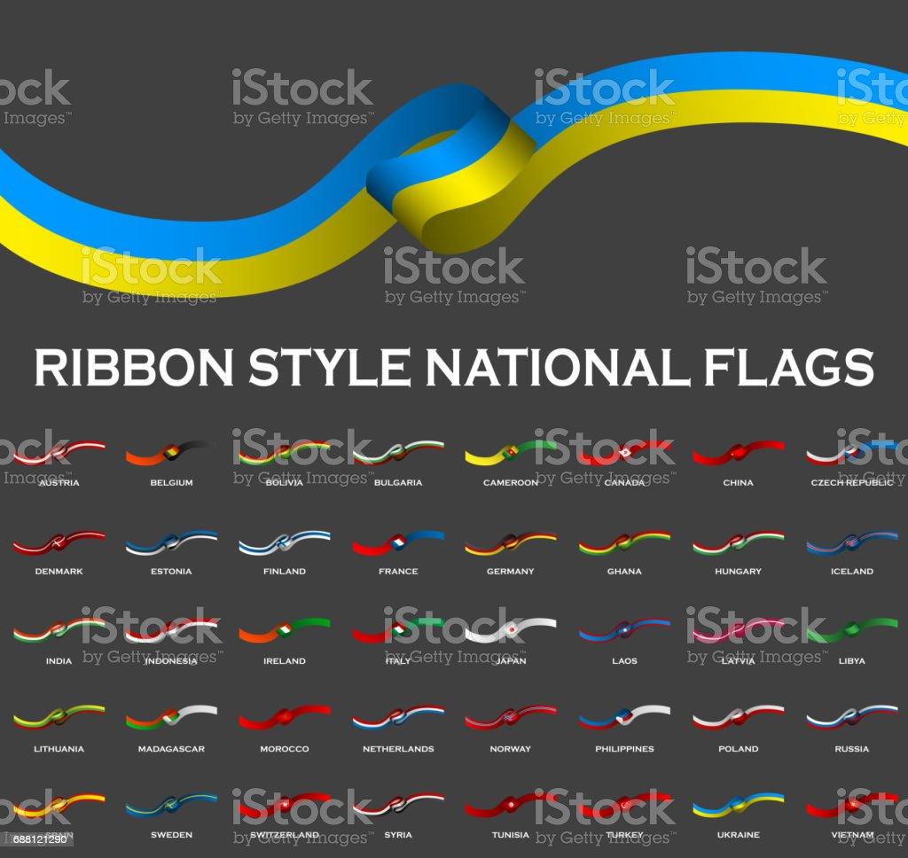 Band Stil National Flaggen 40 in 1 isoliert auf schwarz. Vektor-Illustration – Vektorgrafik