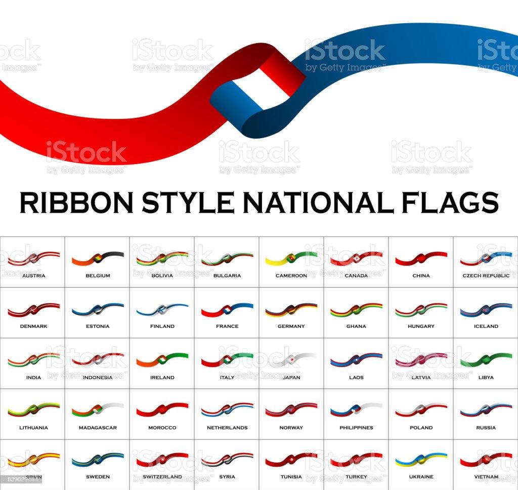 Lint stijl nationale vlaggen 40 in 1 geïsoleerd op wit. Vectorillustratievectorkunst illustratie