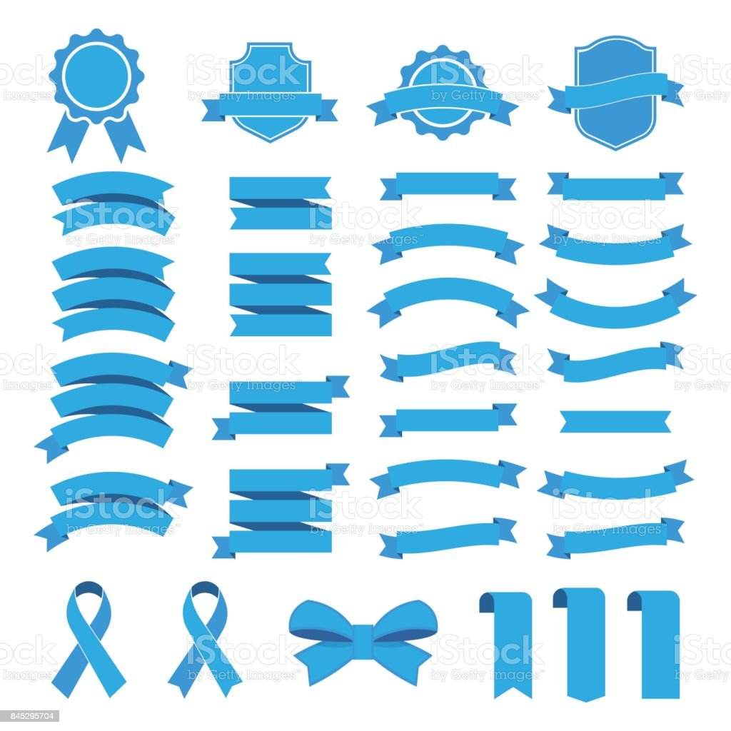 Ribbon vector icon set on white background. Collection banner isolated shapes illustration of gift and accessory.