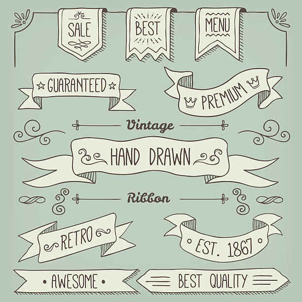 ribbon Hand Drawn Scroll Elements and Page Decoration book borders stock illustrations