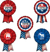 """Set of 5 interchangeableRibbons and Buttons on """"VOTE"""" subject."""