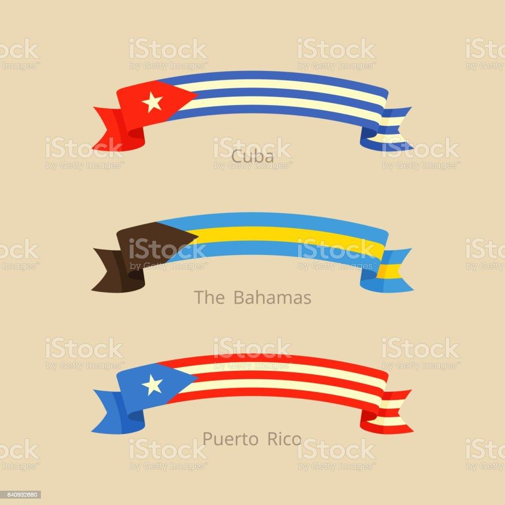 La cinta con la bandera de Cuba, las Bahamas y Puerto Rico. - ilustración de arte vectorial