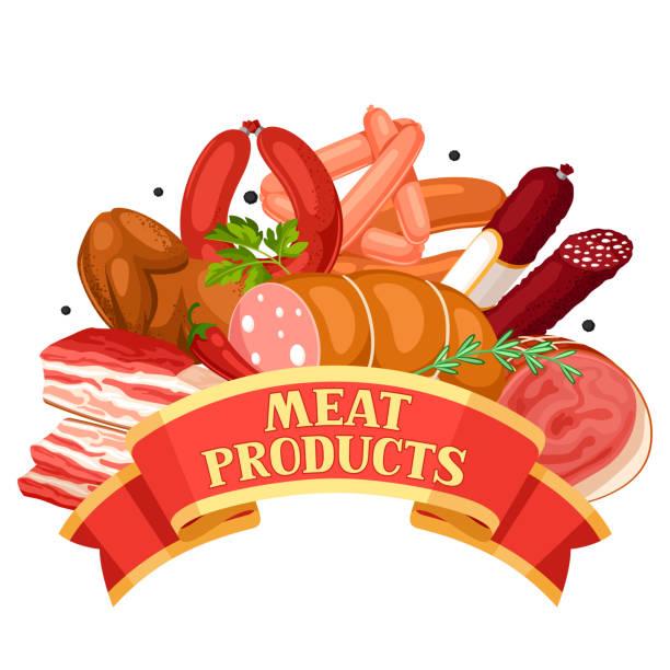 menüband mit fleischprodukten. abbildung von würstchen, speck und schinken - schweinebauch stock-grafiken, -clipart, -cartoons und -symbole