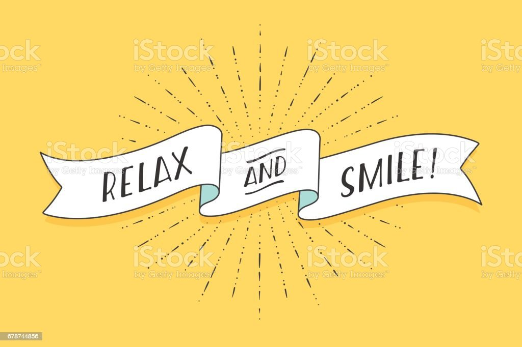 Ribbon with text Relax and Smile vector art illustration