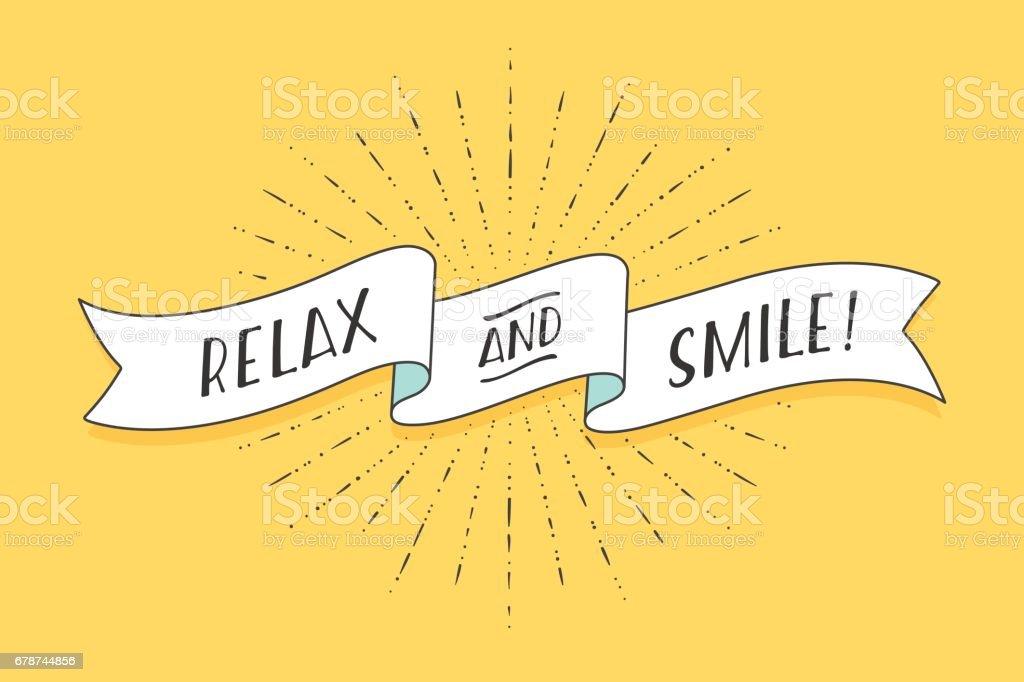 Fita com texto Relax e sorriso - ilustração de arte em vetor