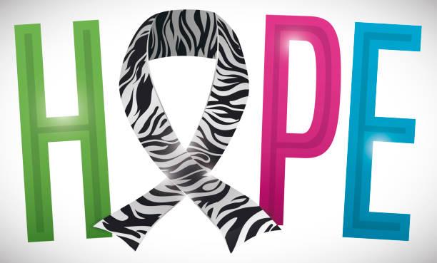 """ilustrações de stock, clip art, desenhos animados e ícones de ribbon with zebra print and the colorful word """"hope"""" - hope"""