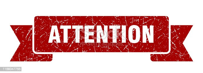 attention ribbon grunge isolated sign. attention stamp