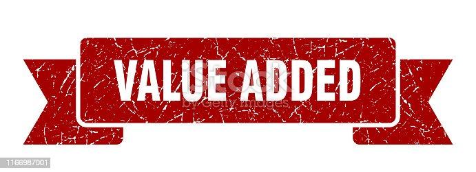 value added grunge ribbon. value added sign. value added banner
