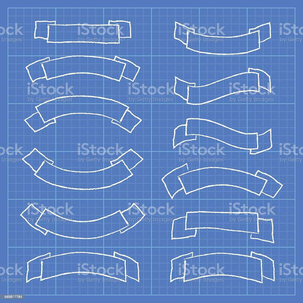 Ribbons and banners on blueprint document stock vector art more ribbons and banners on blueprint document royalty free ribbons and banners on blueprint document stock malvernweather Choice Image