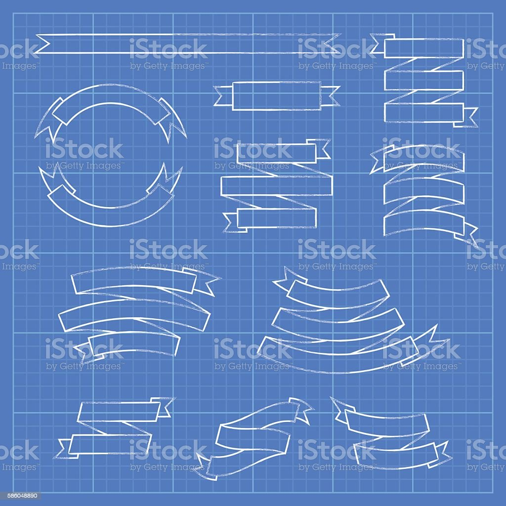 Ribbons and banners on blueprint document stock vector art ribbons and banners on blueprint document royalty free stock vector art malvernweather Choice Image