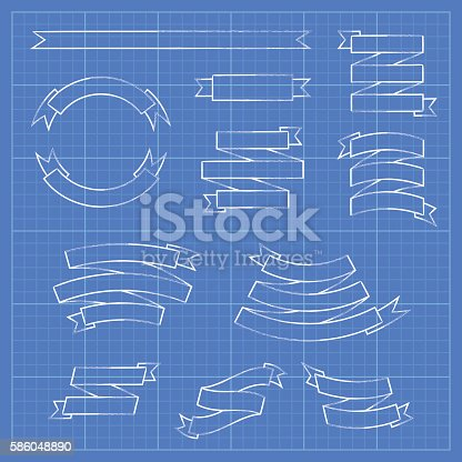 Ribbons and banners on blueprint document stock vector art ribbons and banners on blueprint document stock vector art 586048890 istock malvernweather Choice Image