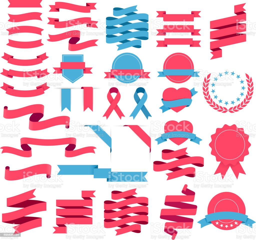 Bändern und Etiketten-Set. Vektor-Illustration. – Vektorgrafik