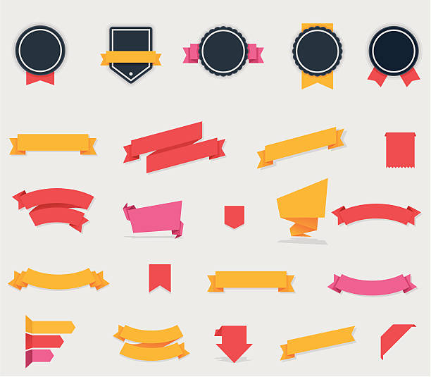 Ribbons and labels vector art illustration