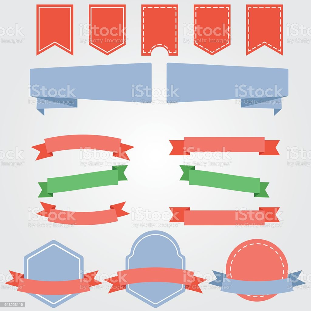 ribbons and labels vector vector art illustration
