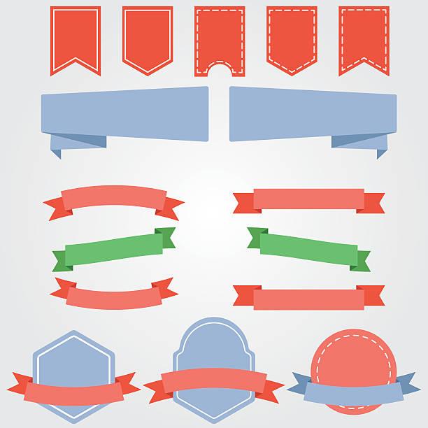 ilustrações, clipart, desenhos animados e ícones de ribbons and labels vector - tag