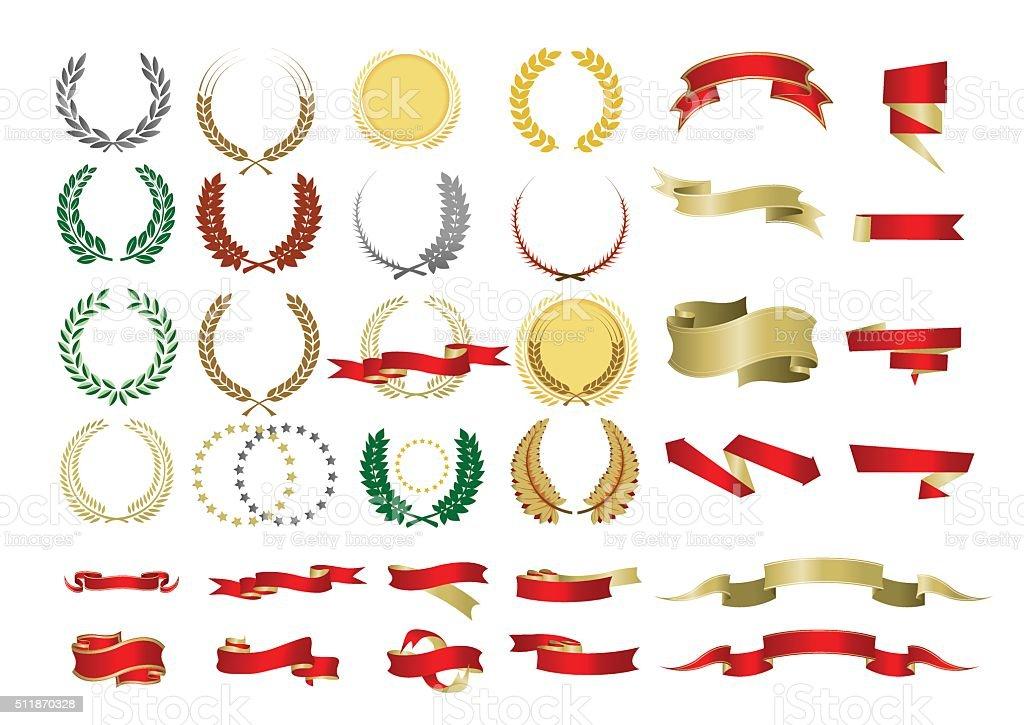 Ribbons and Laurels vector art illustration