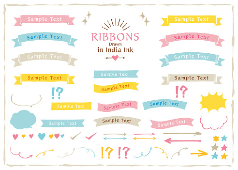 Ribbons drawn in India ink / Colorful