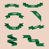 Ribbons or banners in colors of Saudi Arabia flag