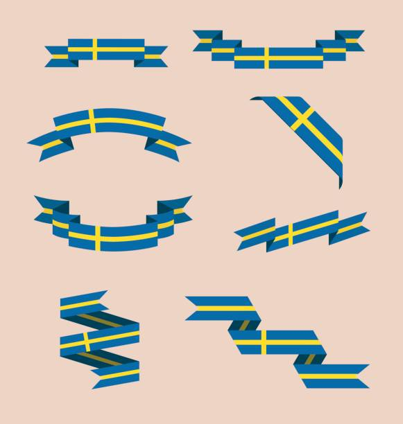Ribbons or banners in colors of Swedish flag vector art illustration