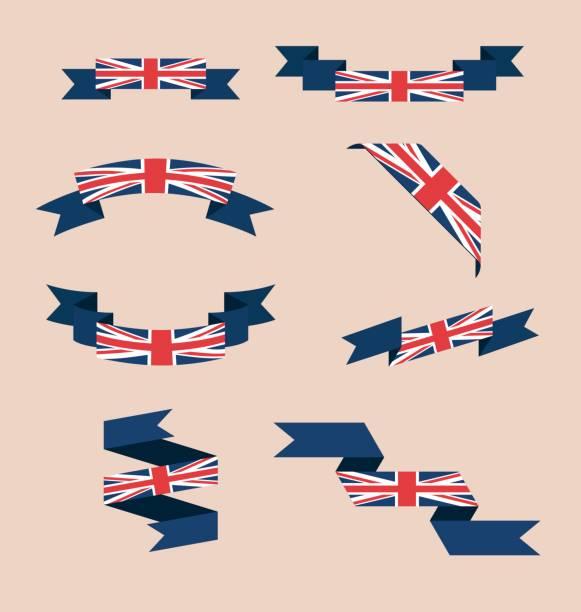 ilustrações, clipart, desenhos animados e ícones de fitas ou bandeiras nas cores da bandeira uk - bandeira union jack