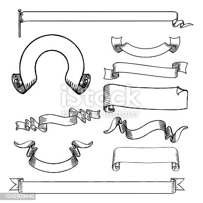 A set of paper scrolls, banners, ribbons and flag designs  in an engraved or etched hand drawn woodcut style.