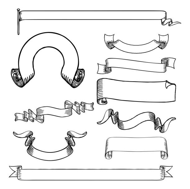 Ribbons Scrolls and Banners Set vector art illustration