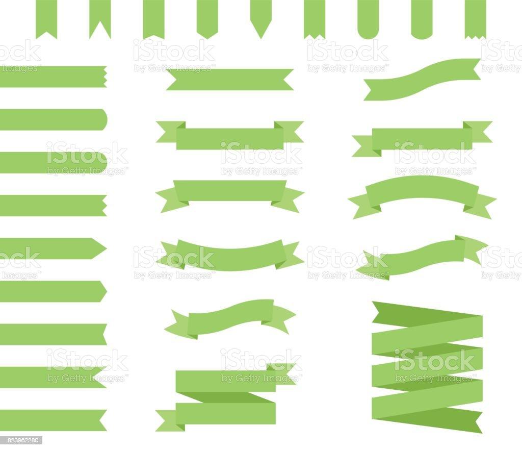 Ribbons Set Design In Green Flat Ribbon Banners Stock Vector Art