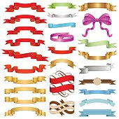 Set of Ribbons vector illustration. Saved in EPS 10 file with transparencies (gift ribbon only). Well constructed for easy editing. No gradient mesh is used, just simple gradients. Hi-res jpeg file included (5000x5000).