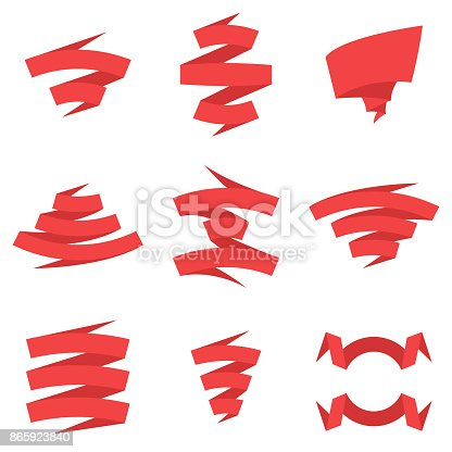 Set of beautiful festive red ribbons. Red flat style ribbon vector banners set. Elements for your design vector illustration.