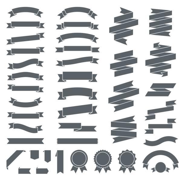Ribbons - Vector Flat Black Collection vector art illustration