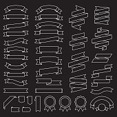 Ribbons - Vector Flat Outline Black Background Collection