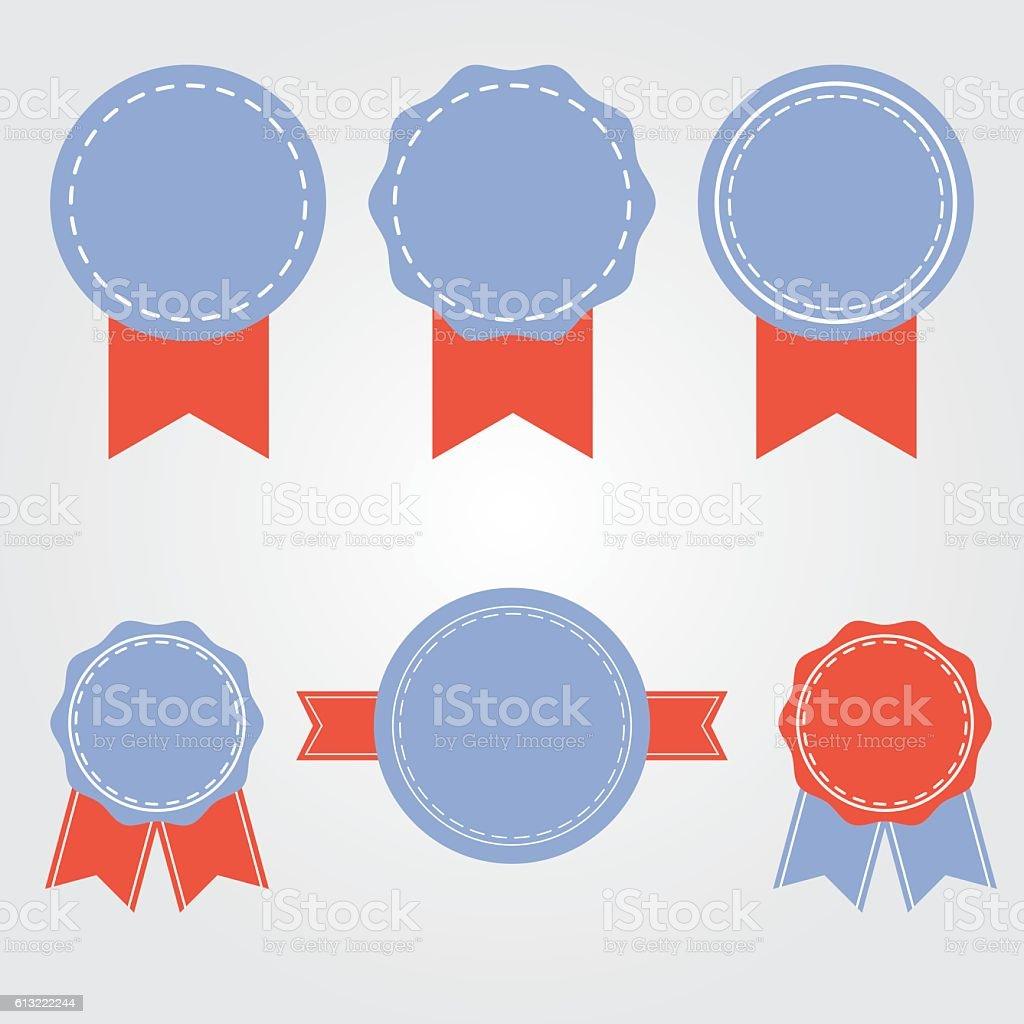 Ribbons Vector Retro Badges Flat Design Vintage Labels Stock Illustration -  Download Image Now