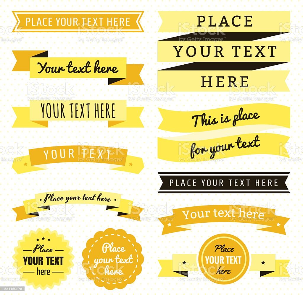 Ribbons vintage vector set in yellow and brown colors vector art illustration