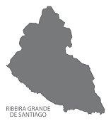 Ribeira Grande De Santiago Cape Verde municipality map grey illustration silhouette