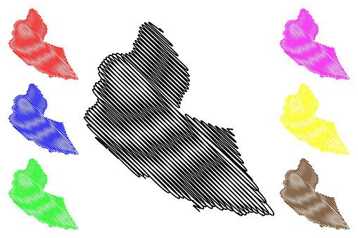 Ribeira Grande de Santiago municipality (Republic of Cabo Verde, concelhos, Cape Verde, Santiago island, archipelago) map vector illustration, scribble sketch Ribeira Grande de Santiago map