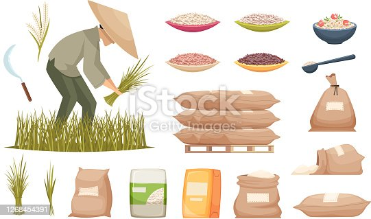 istock Rice bags. Agricultural products brown and white rice transporting food ingredients vector illustrations 1268454391