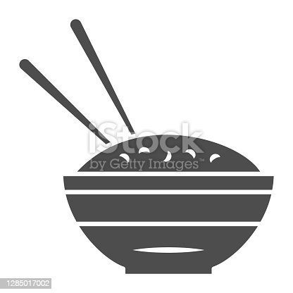 istock Rice bowl and chopsticks solid icon, chinese or japanese cuisine concept, plate of food sign on white background, meal and chopstick icon in glyph style for web design. Vector graphics. 1285017002