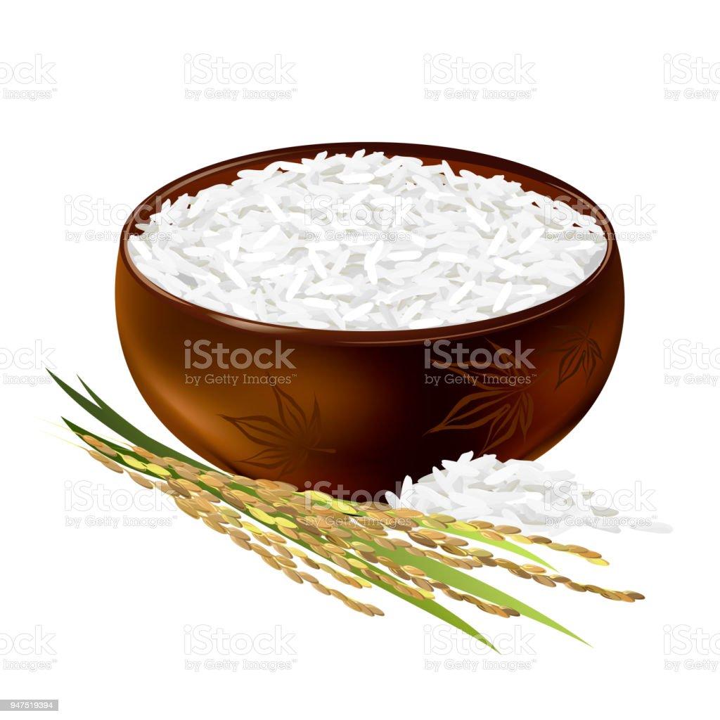 Rice bowl, realistic vector illustration. vector art illustration