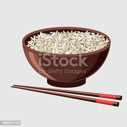 istock Rice bowl with chopsticks 668004100